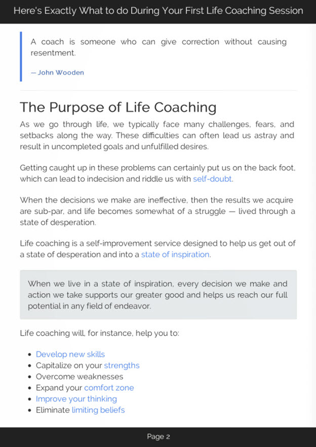 First Life Coaching Session eBook