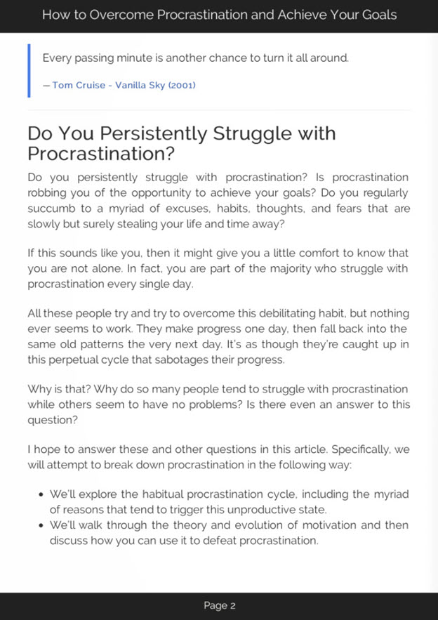 Overcoming Procrastination eBook