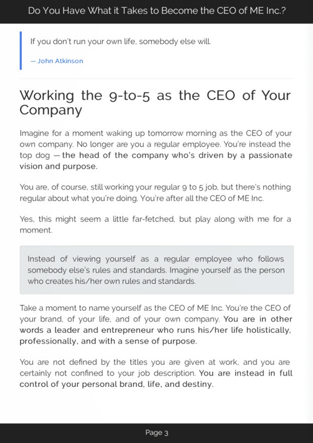 The CEO of Me Inc eBook Introduction