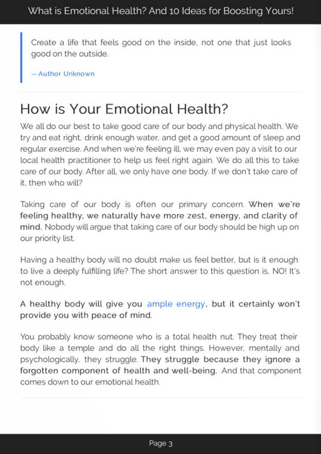 Emotional Health Introduction