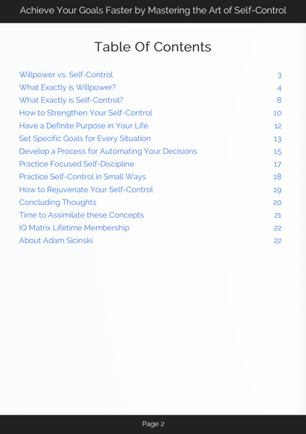 The Art of Self-Control eBook Table of Contents