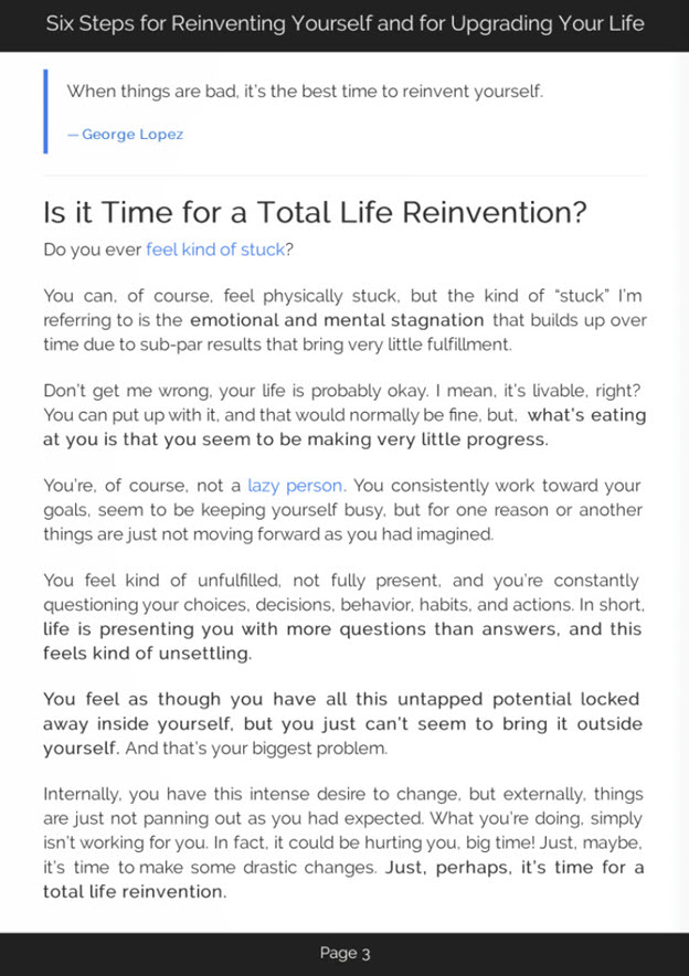 Total Life Reinvention eBook Introduction